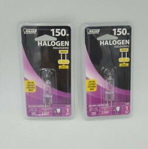 150 Watt Feit Electric Halogen BPQ150T4/JCD GY6.35 2 Pack Sealed free shipping!!