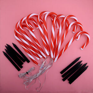 10pc Christmas Candy Cane LED Lights Lamp Pathway Outdoor Garden Yard Xmas Decor