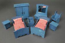 Maison de Poupée Meuble Chambre à Coucher Poupées Accessoires Lit Bois Bleu