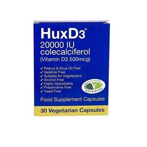 HuxD3 Vitamin 20000iu capsules Hux D3 ** Max / High Strength** Halal Kosher Veg.