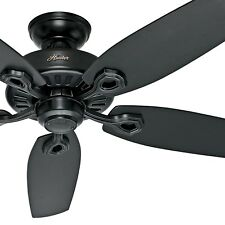 "Hunter 52"" Ceiling Fan, Matte Black with Reversible Blades- 3-Position Mounting"