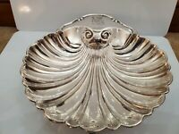 """Vintage Crescent Silver Plated Footed Cigar Ashtray / Clam Shell / Dish Candy 9"""""""