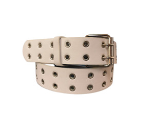 Men's Smooth Grain Leather Two Hole Double Prong Metal Grommet Durable Belt 1.5'