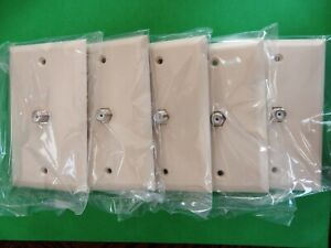 Five (5) GE Ivory Video Wall Plates - Video Jack F-Type, 1-Gang Single Cable