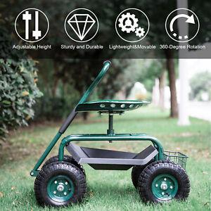 Rolling Garden Cart Work Seat Swivel Wagon Planting Tool Basket Tray Handle Lawn