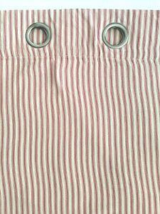 Pottery Barn Ticking Stripe Grommet Drape Panel (1) Rideau Beige Red 50x84