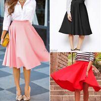Women's Stretch High Waist Short Skirts Plain Skater Flared Pleated Mini Dress
