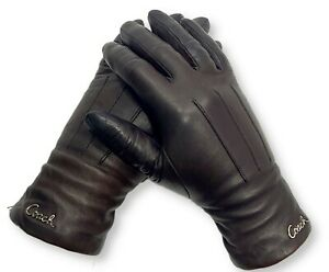 Authentic Coach Women's Leather Cashmere Lined Winter Driving Gloves (Size 6.5)