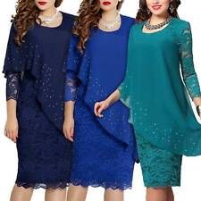 Womens Lace Long Sleeve Formal Evening Party Cocktail Slim Midi Dress Plus Size