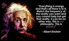 """Albert Einstein Quote Motivation Fabric poster 20x13"""" Decor 28"""