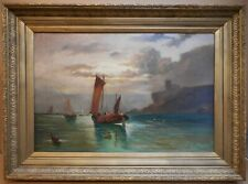 Scottish Herring Fleet off Tantallon Castle. Large Original Oil, circa 1870