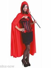 Red Hooded Cape 142cm Long Adult Devil Vampire Red Riding Hood Halloween Cape