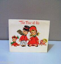 Vtg Christmas Card Embossed Hallmark Rag Doll Family From The Four of Us