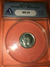 (ND) Roosevelt Dime Brockage ANACS MS-64.  Awesome ERROR Coin 10 Cents