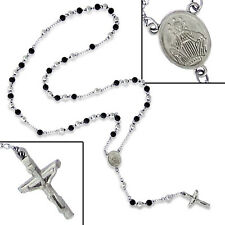 RETRO STAINLESS STEEL & ZINC PLATED ROSARY BEAD NECKLACE - Free Gift Pouch Black