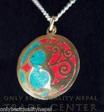"Amulett Pendant Tibet Anhänger Schmuck gold Farbe Sanskrit ""OM"" 12"