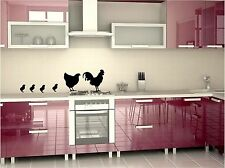 Country kitchen chicken family wall art decals in 4 colors