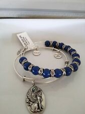 ALEX AND ANI Denim Sphinx Beaded Bangle silver Bracelet Set of Two- NWT