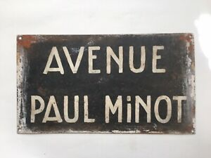 French Vintage 2-sided Big Street Sign Avenue Paul Minot & Avenue De Bourgogne