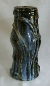 AUSTRALIAN LARGE BROWN BLACK BLUE POTTERY VASE 33 cm's high 3.5 kgs