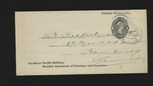 Ganzsachen-Brief aus Canada nach Hamburg, Canadian Pacific Railway Company