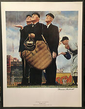 "Norman Rockwell: ""Tough Call"" Original Offset Lithograph Hand Signed 1949"