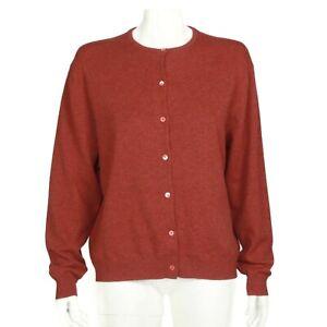 TSE Cashmere Beautiful Sunset Red Button Cardigan Sweater Womens XL - 563