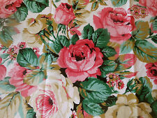 Vintage Retro French Cabbage Roses Cotton Fabric ~ Pink Green Cafe Au Lait