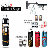 2ft/4ft Filled Heavy Punch Bag + Chain + Bracket Punchbag kick boxing set MMA R1