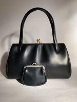 Vintage 1960s Soft Back Smooth Vinyl Handbag & Purse Fabric Lining Elbief Frame