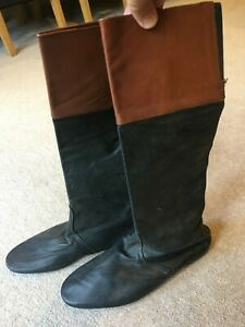 Vintage Black Leather Lightweight Jockeys Riding Boots with Mahagony Tops