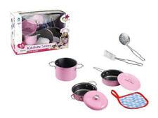 Pink Steel Metal Pots Pans Utensil Kitchen Cooking Play Set Girls Craft Toy UK