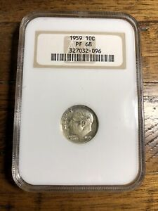 1959 PF 68 10C NGC Old Fatty Holder Roosevelt Silver Dime A1152 1959 PF68