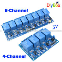 1/2/5/10Pcs 5V 4/8-Channel Relay Module With Optocoupler For PIC AVR DSP ARM PLC