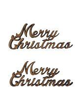 4x Merry Christmas 7cm Wood Craft Embelishments Laser Cut Shape MDF