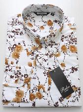 Relco Mens White Brown Floral Flower Shirt Long Sleeve Mod Vtg Retro M XL 2XL