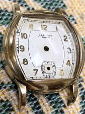 VINTAGE ILLINOIS 6/0 SIZE WRIST WATCH CASE AND DIAL - PARTS - GOLD NUMERALS