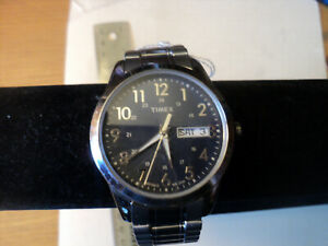 Timex T2M933, Men's Silver-Tone Expansion Watch, Indiglo, Day/Date, Blue Dial