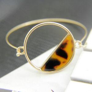 Brass Gold Plated Brass 4Colors Resin Leopard Print Succinct Bangle SZ0849
