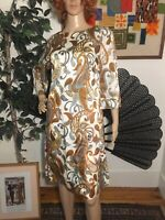 Vintage 60s Abstract Satin Psychedelic Dress Small
