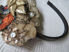 mint/vtg80s/MAMIE/US/hand embroidered fascinator/GOLD, LACE, LEATHER, EMBROIDERY