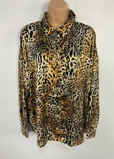 BNWT WOMENS PEACOCKS BROWN&BLACK ANIMAL PRINT BUTTON SHIRT/BLOUSE TOP SIZE UK 12