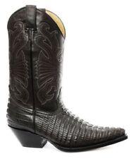 Grinders Carolina CROC Black Leather Crocodile Tail Boot Cowboy Western Boots