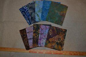 Lot of cotton batik fabric, mixed colors/designs, 10 fat quarters