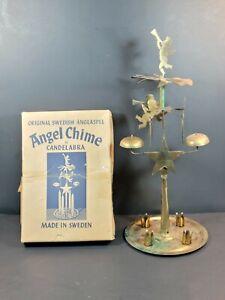 "Vintage Mid-Century Christmas Swedish 12"" Brass Angel Chimes Original Box Sweden"