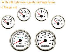 6 Gauge Set 200MPH Speedometer Tacho Fuel Temp Volt Oil 12/24V Universal Red LED