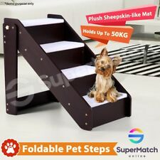 4 Steps Wooden Portable Dog Cat Pet Stairs Plush Sheepskin-like Mat Ramp Ladder
