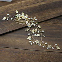 Luxurious Gold Bride Leaf Pearl Hair Comb Headpiece Party Wedding Hair Jewel MO