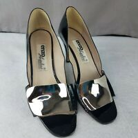 Enzo Angiolini Womens 7.5 N Black Patent Open Silver Metallic Toe Heels Shoes