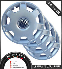 "VW BADGED 14"" WHEEL TRIM HUB CAP COVERS SET OF 4 FITS 14 INCH TRIM DL6023-14-VW1"